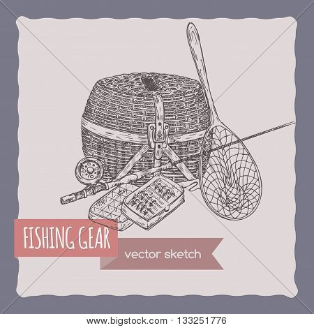 Fishing gear hand drawn sketch. Great for travel ads and brochures, fishing and vacation illustrations.