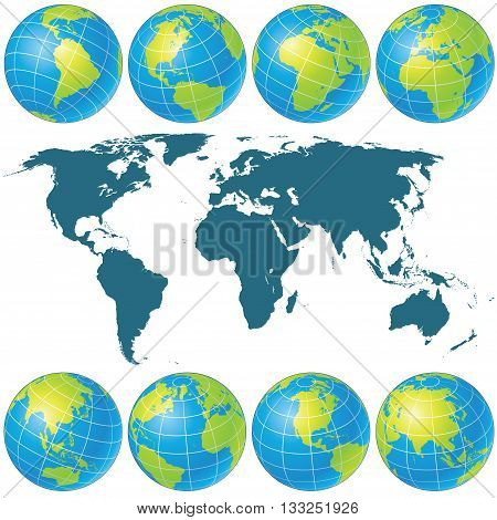Spin Globes Collection. Vector Image. Ready for Your Text and Design. Set of Globe Icons Showing Earth with all Continents