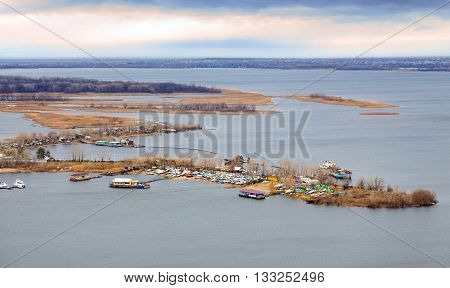 City of Saratov. View of island Zelenyy on Volga River. Russia