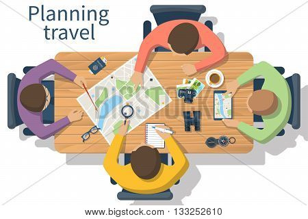 Travel planning vector. Trip plan. Team of people at the table planning a tourist trip plan. Planning vacation search place for holiday. Vector illustration of a flat design style. Travel concept.