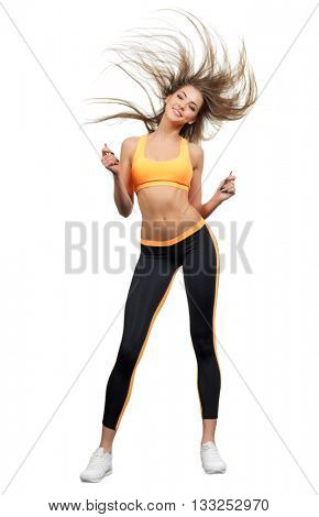 Young dancing sporty girl isolated