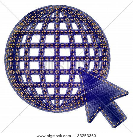 Earth Globe with cursor. Jeans style icon on white background.