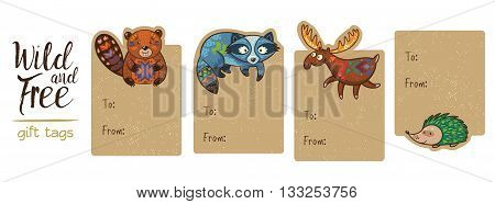 Gift tags with cute forest cartoon animals. Set of 4 printable hand drawn holiday label with beaver, raccoon, deer and hedgehog. Vector illustration