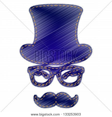 Hipster accessories design. Jeans style icon on white background.