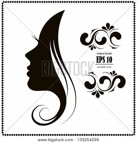 woman's silhouette hair face head black icon