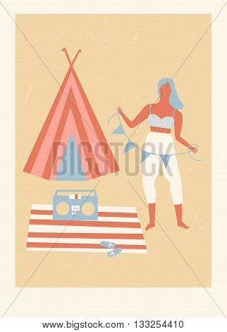 Summer beach camp poster with girl listening the music and tourist tent