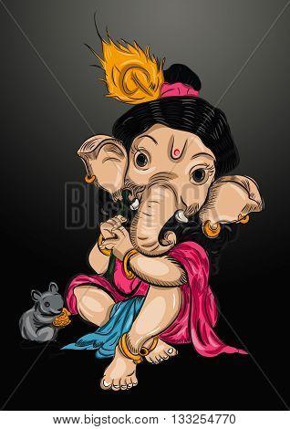 pink baby ganesh illustration art background design