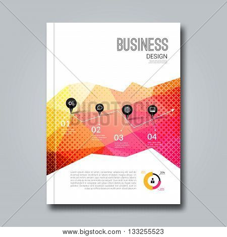Cover Report Business Colorful Pink Red Triangle Polygonal Geometric pattern Design Background, cover magazine, Brochure Book Cover Template, vector illustration.