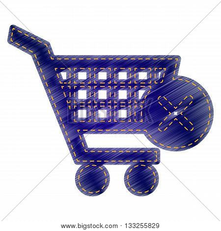 Shopping Cart with delete sign. Jeans style icon on white background.
