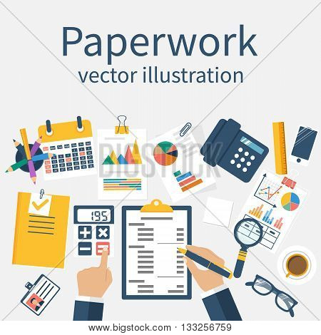 Paperwork, Vector. Office Worker.