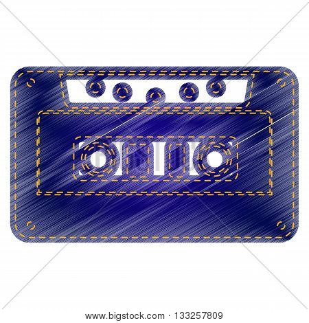 Cassette icon, audio tape sign. Jeans style icon on white background.