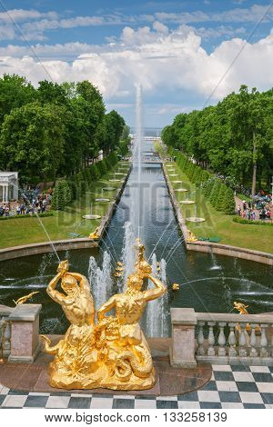 SAINT PETERSBURG, RUSSIA -JUNE 02, 2016: Fountains of Lower Gardens, the Sea Canal  in Peterhof, near Saint Petersburg. Fountains of Peterhof are one of Russia's most famous tourist attractions