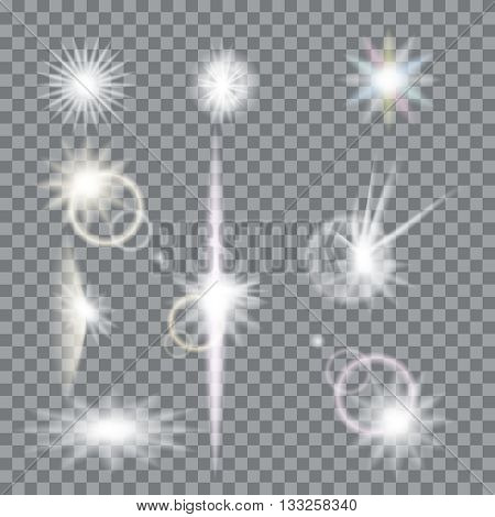Lens flare set with transparent easy replace background and edit colors. Vector design elements Eps 10. Effects for design and decor.