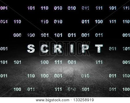 Programming concept: Glowing text Script in grunge dark room with Dirty Floor, black background with Binary Code