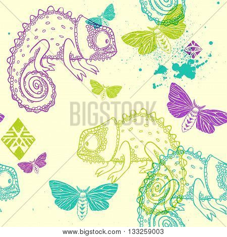 vector seamless pattern with chameleon, butterflies and tribal ornamental elements