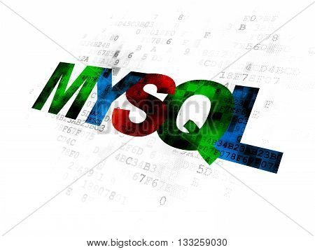 Programming concept: Pixelated multicolor text MySQL on Digital background