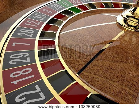 Casino roulette wheel close up. 3D render