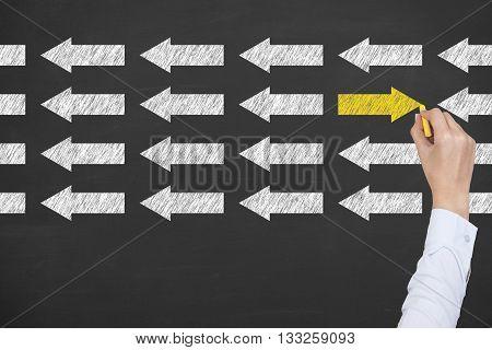 Orientation Concept on Blackboard Background Businessman Work Concept