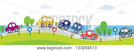 Children vector illustration of small funny cars going to the sea. Hozisontal seamless background or pattern.