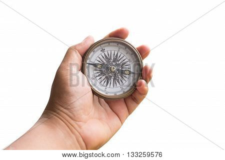 Compass On Hand Man Isolated White With Clipping Path.
