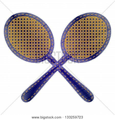 Tennis racquets sign. Jeans style icon on white background.