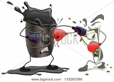 Boxing barrel of oil and US dollar. Cartoon illustration in vector format