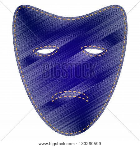 Tragedy theatrical masks. Jeans style icon on white background.