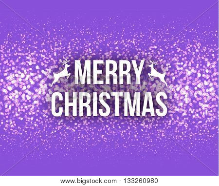 Merry Christmas Retro Design Typography Lettering Greeting Card with Falling Snowflakes and Xmas Tree Background. Happy New Year template on Lilac. Horizontal Vector illustration