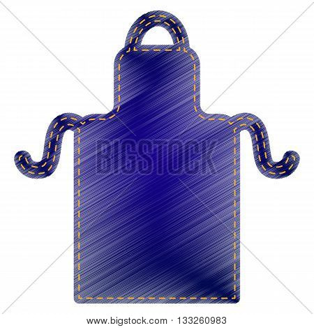 Apron simple sign. Jeans style icon on white background.