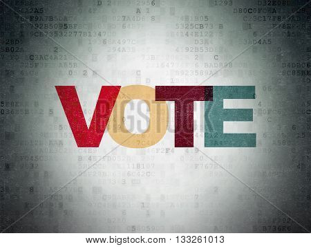 Political concept: Painted multicolor text Vote on Digital Data Paper background