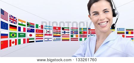 contact us customer service operator woman with headset smiling isolated on international flags background