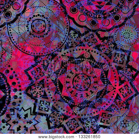 motley ornate abstract geometrical pattern with floral elements