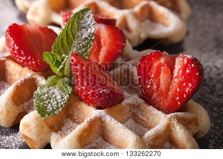 Beautiful Food: Belgian Waffles With Fresh Strawberries. Horizontal