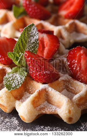 Belgian Waffles With Fresh Strawberries Macro On A Slate Table. Vertical