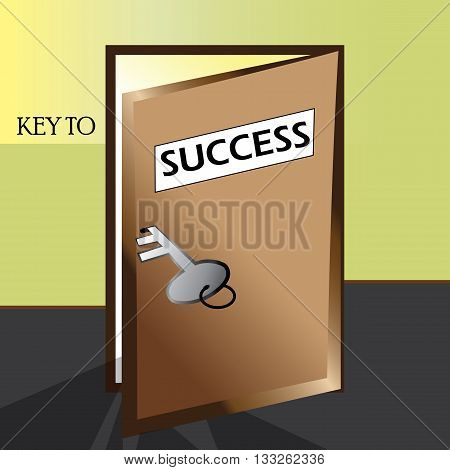 Key to success description -Door is open for anyone to achieve the steps to success.