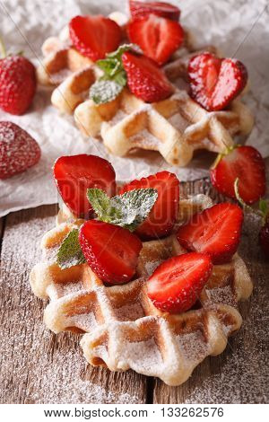 Belgian Waffles With Strawberries And Powdered Sugar Macro. Vertical, Rustic