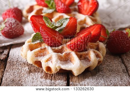 Belgian Waffles With Strawberries And Powdered Sugar. Horizontal, Macro