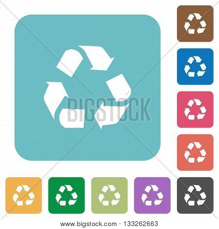 Flat recycling icons on rounded square color backgrounds.