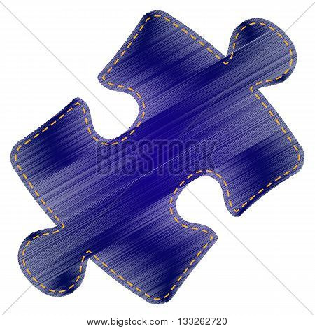 Puzzle piece sign. Jeans style icon on white background.