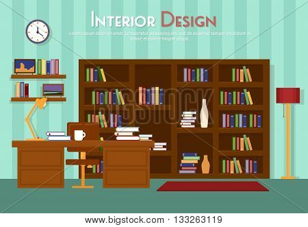 Vector flat illustration of room, lounge with bookshelf, table with lamp, cup, armchair on the floor with carpet rug. Books with clock, in indoor cabinet in home, library, apartment. Eps 10