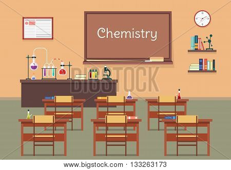 Vector flat illustration of chemistry lassroom at the school, university, institute, college. Desks with books rulers, flasks, bottles, beaker, microscope and blackboard, chalk and bookshelf, clock. EPS 10