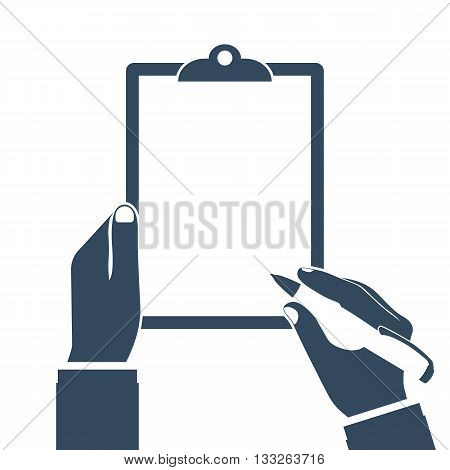 Man holds a clipboard and writes. Empty blank. Pen in hand. Blank sheet of paper to write. Vector illustration flat design. Template for text. Empty area