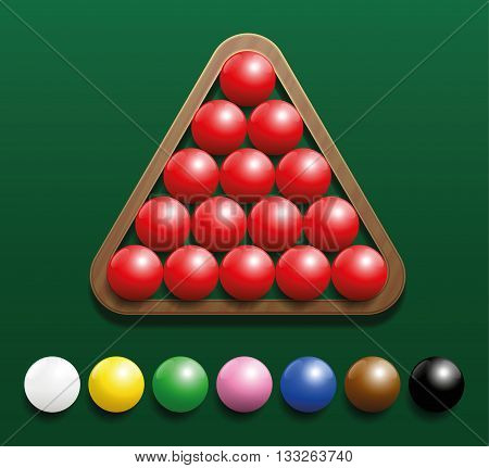 Snooker set with fifteen red balls in a wooden rack and seven colored balls in a row. Three-dimensional vector illustration on green gradient background.