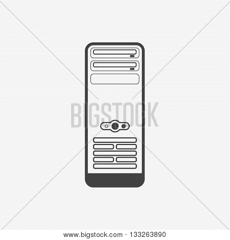 Computer case or workstation monochrome icon. Vector illustration.