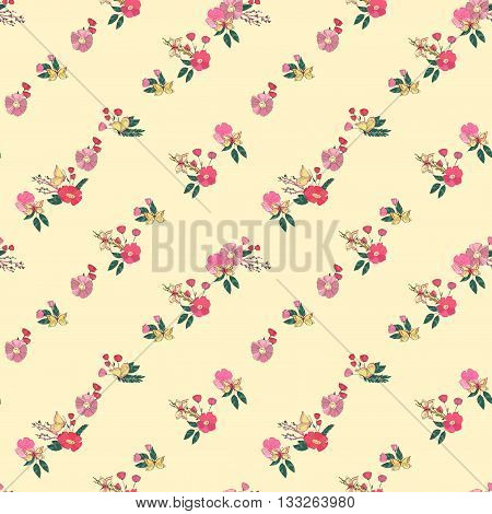 Floral Seamless Vintage Pattern With Wildflowers and Butterfly. Hand Drawn Illustration. Good For Web, Print, Wrapping Paper