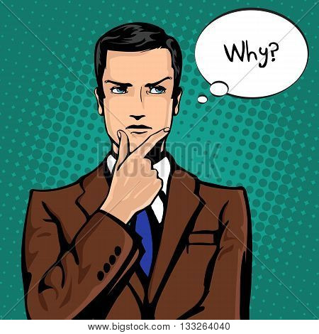 Vector illustration of successful businessman thinks in vintage pop art comics style.