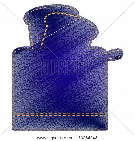 Toaster simple sign. Jeans style icon on white background.