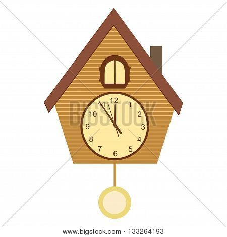 Cuckoo-clock vector illustration isolated on white background