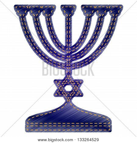 Jewish Menorah candlestick in black silhouette. Jeans style icon on white background.