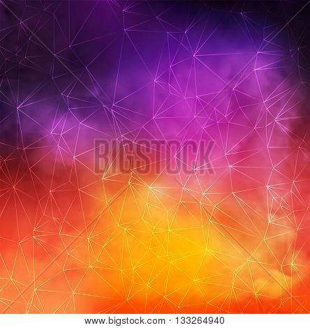 Abstract Vector Colorful Smoky Background with triangle lines net.